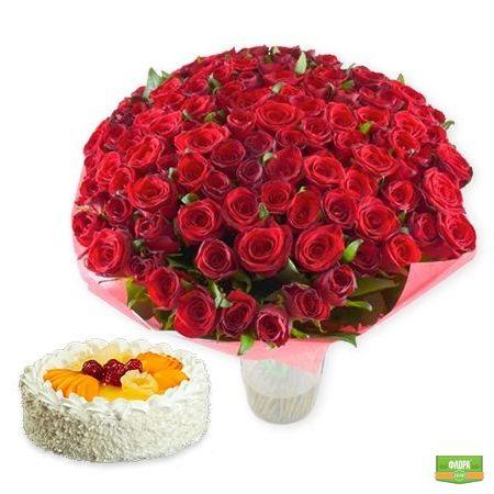 101 алая роза + торт в подарок