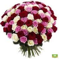 Букет «101 разноцветная роза» с доставкой в любой город