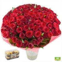 101 роза + Конфеты Ferrero Rocher