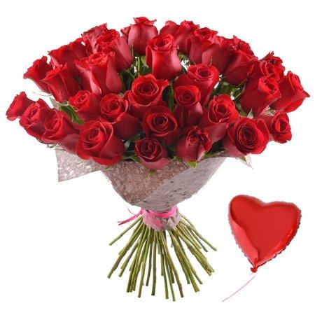 51 эквадорская роза + шарик в подарок