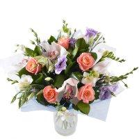 Букет богиня, нежный букет, бело розовый букет, букет из роз и орхидей, букет на свадьбу,  бело фиол