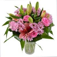 букет прелесть, розовый букет, прелестный букет, букет из лилий и роз, розовые хризантемы букет