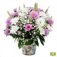 Бело-розовый букет цветов для леди, букет в вазе с доставкой