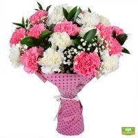 Купить большой букет с розовой и белой гвоздикой