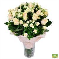 Букет кремовый, кремовый букет роз, пастельные цветы, подарок любимой, букет кремовых роз