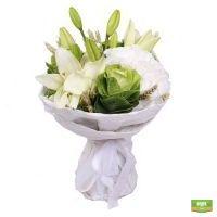 микс в белых тонах, сезонные цветы, белые цветы, белый букет, букет из белых цветов