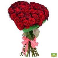 Заказать оригинальный букет красных роз в виде сердца
