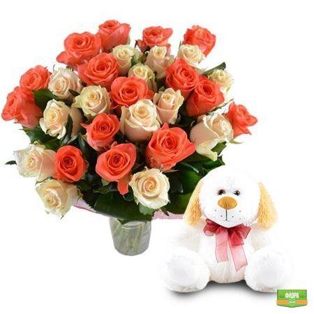 Душевный подарок (розы+игрушка)