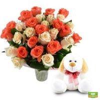Заказать красивый букет «Душевный подарок (розы + игрушка)»