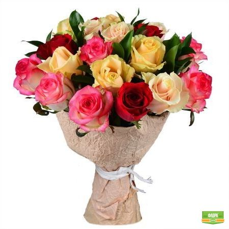 Из разноцветных роз