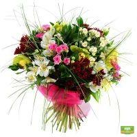 Классный букет (хризантемы, розы, орхидеи) - flora2000.ru