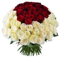«Королевский букет», 101 роза, красно-белые розы