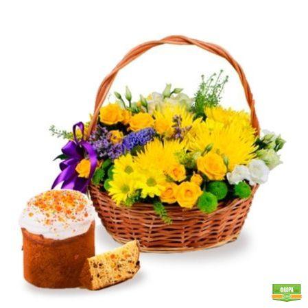 Корзина солнечных цветов + пасхальный кулич