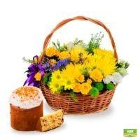 Заказать пасхальный букет «Корзина солнечных цветов» с доставкой