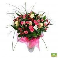 Розовый букет, букет из роз и тюльпанов с доставкой