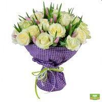 Купить нежный букет из  роз и тюльпанов «Нежная любовь»