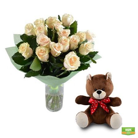 Нежный подарок (розы + мишка)