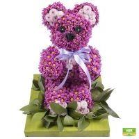Купить очаровательного цветочного мишку в лиловых тонах с доставкой в любой город