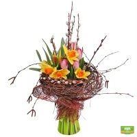Букет-микс из разноцветных сезонных цветов с доставкой
