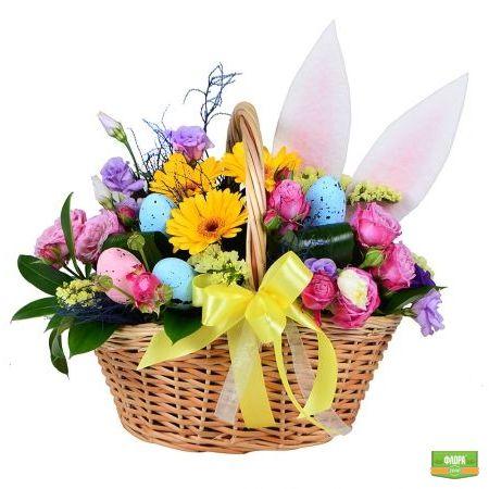 Пасхальная цветочная корзинка