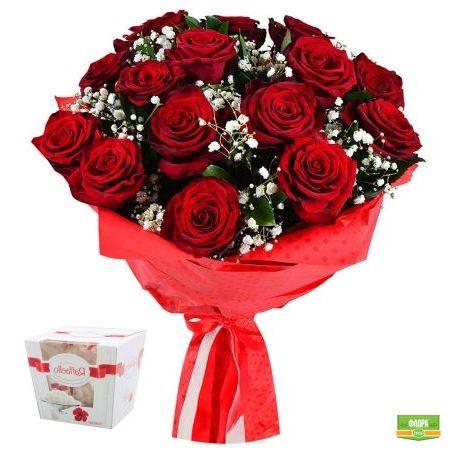 Розы в снегу + Конфеты Raffaello