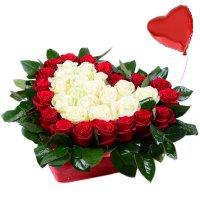 Сердце с розами + шарик в подарок