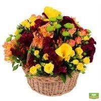 осенний букет, корзина с цветами, осенние цветы