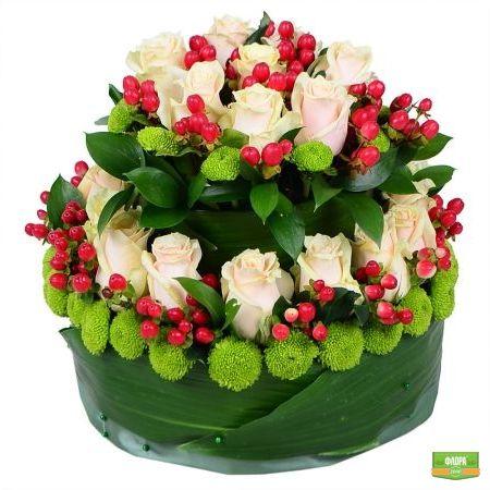Цветочный ярусный торт