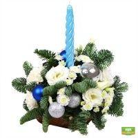 Купить композицию из шаров и еловых веток «Цветущее Рождество»