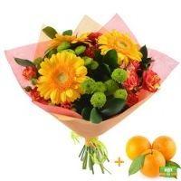 Букет «Утренняя прогулка», яркий букет, букет с апельсинами