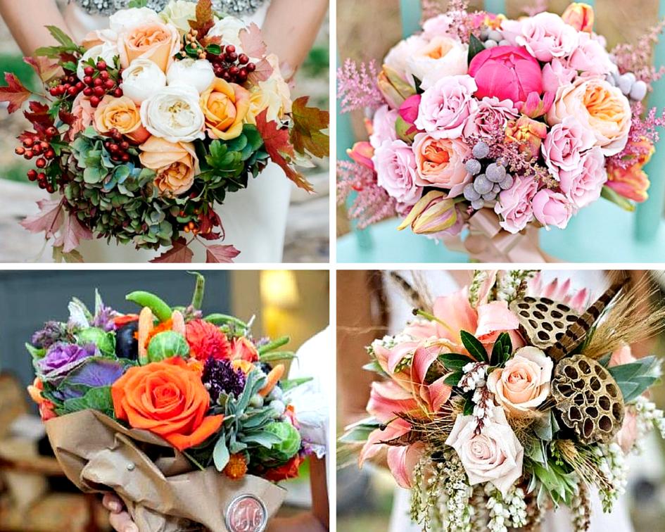 Букет осени из цветов и фруктов фото — 14
