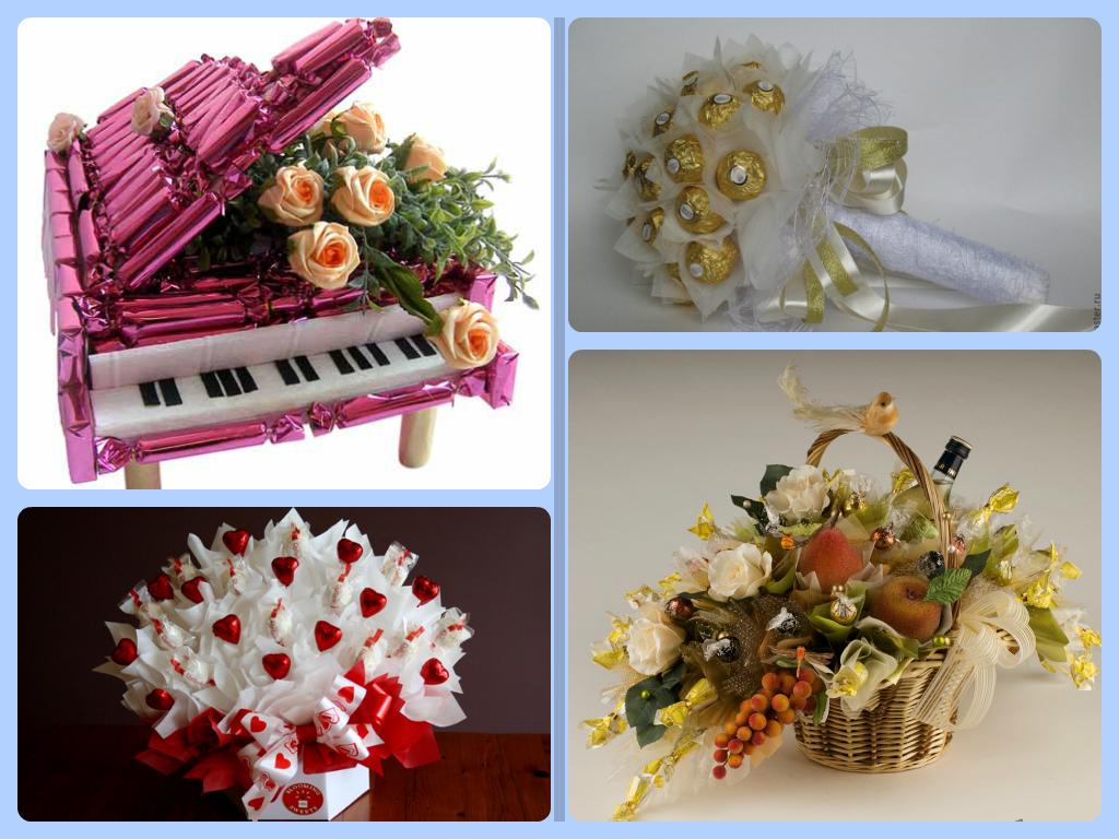 Букеты цветов, букеты из конфет мастер класс пошаговое фото