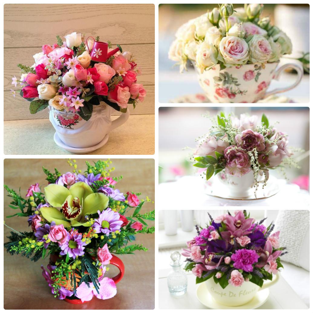 Композиция из живых цветов к юбилею
