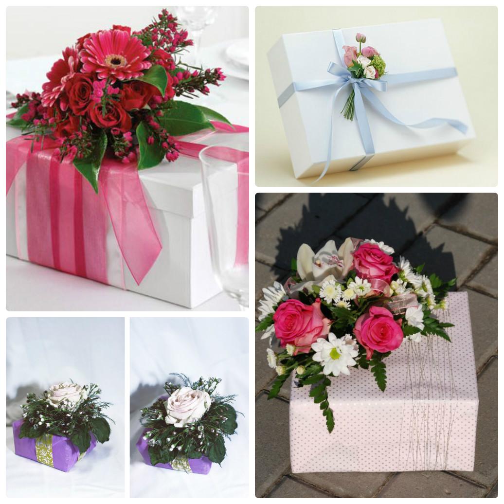 Как украсить подарок цветами 351