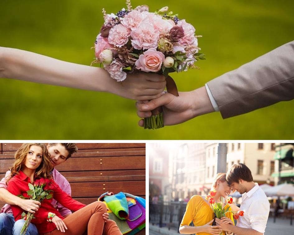Парень дарить девушке цветы 5