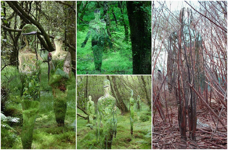 Стеклянные скульптуры в шотландском лесу